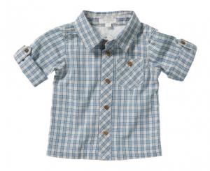 Purebaby  有機棉格紋口袋襯衫
