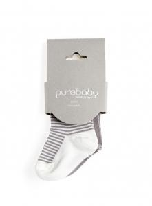 Purebaby有機棉襪子2雙組-灰色組
