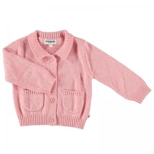 Bebobio 有機棉有領針織外套-粉紅純色