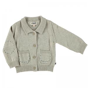 Bebobio 有機棉有領針織外套-灰色純色