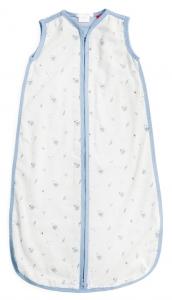 Purebaby  有機棉棉紗睡袋-粉藍純色
