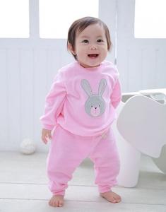 Deux Filles 有機棉棉絨運動褲-淡粉紅色